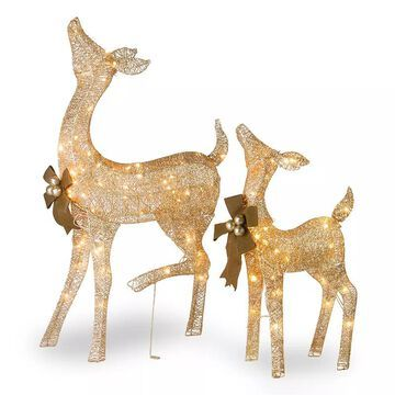 National Tree Company Light-Up Doe & Fawn Indoor / Outdoor 2-piece Set, Gold