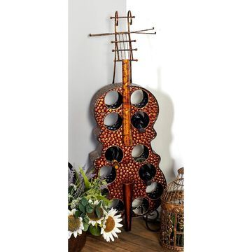 Eclectic 47 x 17 Inch Violin Wood and Metal Wine Rack by Studio 350