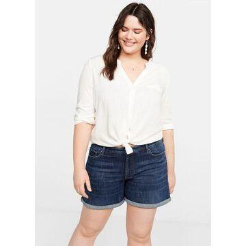 Violeta BY MANGO - Dark denim shorts dark blue - 12 - Plus sizes