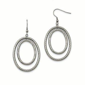 Primal Steel Stainless Steel Polished and Textured Shepherd Hook Earrings