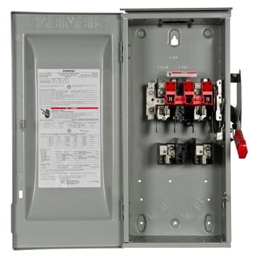 Siemens 100-Amp 2-Pole Fusible Heavy Safety Switch Disconnect in Gray   HF223NR