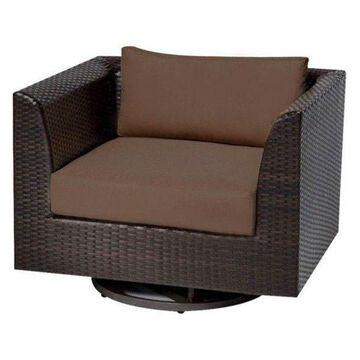TK Classics Barbados Outdoor Wicker Swivel Chair, Cocoa