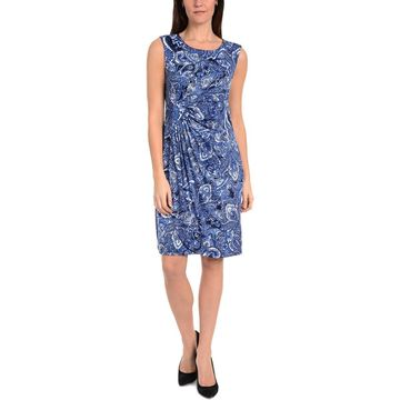 NY Collection Womens Paisley Gathered Wrap Dress
