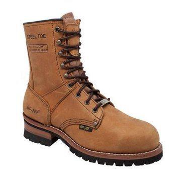 """AdTec Men's 1740 9"""" Steel Toe Logger Work Boots"""