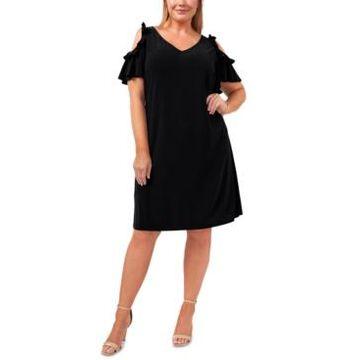 Msk Plus Size V-Neck Cold-Shoulder Flutter-Sleeve Dress