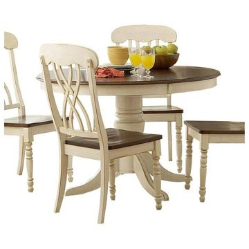 Homelegance Ohana 5-Piece Round Dining Room Set, White/Cherry