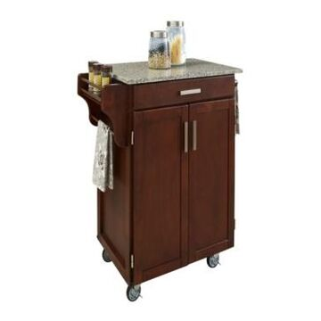 Home Styles Cuisine Cart Cherry Finish Salt and Pepper Granite Top