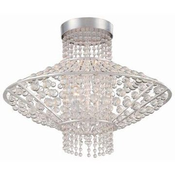 Metropolitan Lighting Saybrook 4-Light Semi-Flush Mount Light in Catalina Silver with Glass Beads