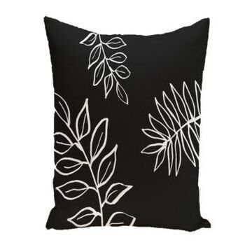 16 Inch Black and Gray Decorative Floral Throw Pillow