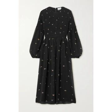 GANNI - Smocked Printed Georgette Midi Dress - Black