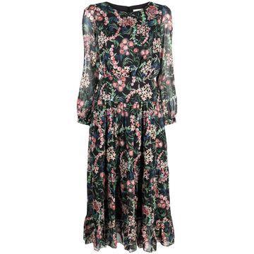 graphic-print long-sleeve dress