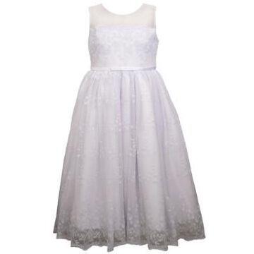 Bonnie Jean Big Girls Sleeveless Embroidered Organza Waistline Dress
