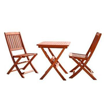 3pc Wood Patio Bistro Set - Brown - Vifah