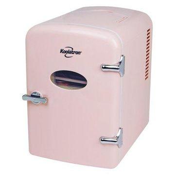 Koolatron KRT04-P Portable Retro 6-Can Mini Fridge, Pink