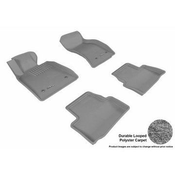 3D MAXpider Stylish Custom Fit All Weather Floor Mats for 2013-2017 Cadillac ATS Front & Second Row in Gray Carpet