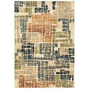 Style Haven Essence Orange/Grey Distressed Patchwork Area Rug