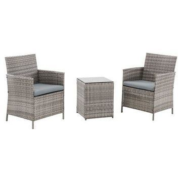 Sunjoy 3PC Table and Chairs Outdoor Seating Bistro Set with Cushions, Rattan Wicker Patio Furniture, Gray