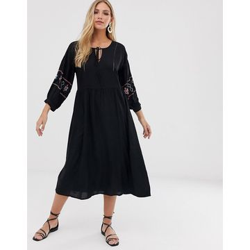 Y.A.S embroidered sleeve dress-Black