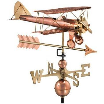 Good Directions Biplane with Arrow Weathervane in Copper