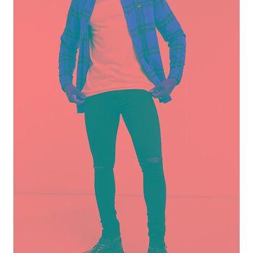 Reclaimed Vintage Inspired super skinny jean with knee rip in black