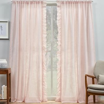 Exclusive Home 2-pack Jacinta Flippable Side Ruffle Sheer Rod Pocket Window Curtains