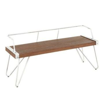 Lumisource Stefani Bench in White/Brown