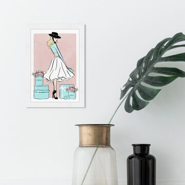 Oliver Gal 'Floral Shopper Blush' Fashion and Glam Framed Wall Art Prints Outfits - Blue, Pink