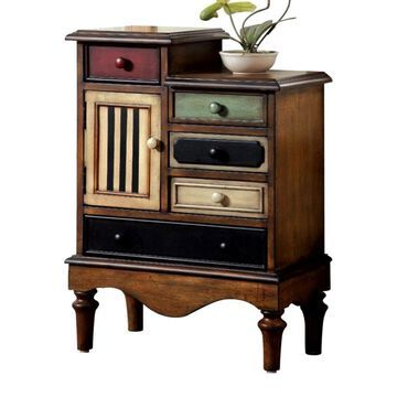 Benzara Vintage Style Accent Chest with 5 Drawers in Brown | BM123058