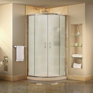 DreamLine Prime 33 in. D x 33 in. W x 74 3/4 in. H Frosted Framed Sliding Shower Enclosure in Chrome, Corner Drain Biscuit Base