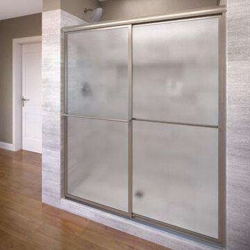 Basco Deluxe 54-in to 56-in W Framed Bypass/Sliding Brushed Nickel Shower Door