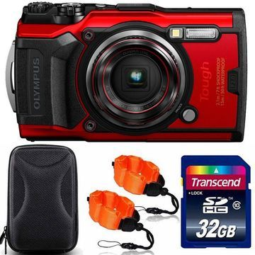 OLYMPUS Tough TG-6 Digital Camera Red with 32GB Memory Card + Strap & Case
