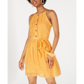 Juniors' Button-Trimmed Gauze Dress