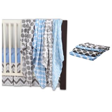 Bacati Ikat 6 Piece Crib Bedding Set, Blue/Gray