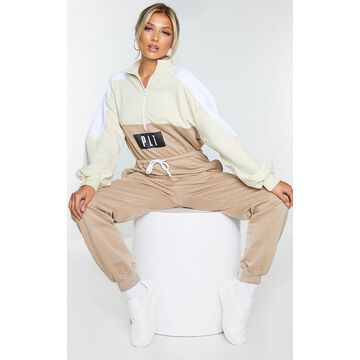 PrettyLittleThingStone Colour Block Zip Sweat Jumpsuit