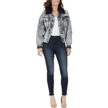 William Rast Womens Bubble Fall Faux Fur Collar Denim Jacket