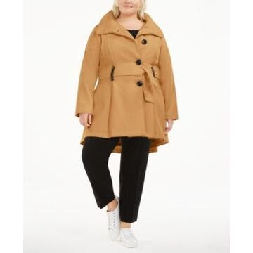 Madden Girl Juniors' Plus Size Skirted Belted Coat, Created for Macy's