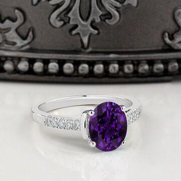 Auriya 1 1/5ct Fancy Oval Purple Amethyst and Diamond Engagement Ring 1/6ctw 14k Gold (4)