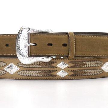 N2413244-40 Arrow Lacing Diamond Concho Belt, Medium Brown Distressed - Size 40