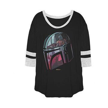 Fifth Sun Women's Tee Shirts BLK - Star Wars Black Mandalorian Helmet Varsity Tee - Women, Juniors & Plus