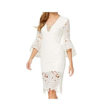 Bardot Ivory White Women's Size XS Lace Bell Sleeve Sheath Dress