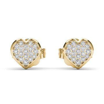 De Couer IGI Certified 10k Yellow Gold 1/10ct TDW Diamond Heart Cluster Earring (Yellow)
