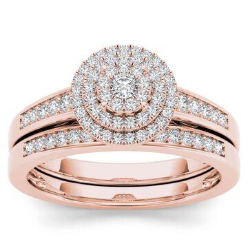 De Couer 14k Rose Gold 1/3ct TDW Diamond Cluster Halo Bridal Set