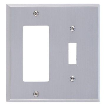 Quaker Double, 1-Switch With 1-GFCI, Satin Nickel