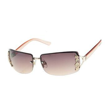 Mixit Rimless Rectangle With Metal Flowers Womens Sunglasses