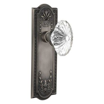 Single Mission Plate With Oval Fluted Crystal Knob, Antique Pewter