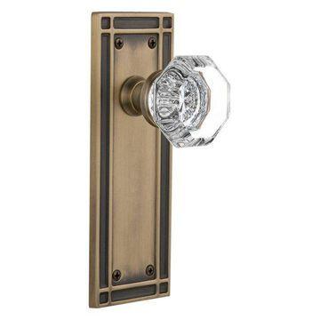 Mission Plate Privacy Waldorf Knob, Antique Brass