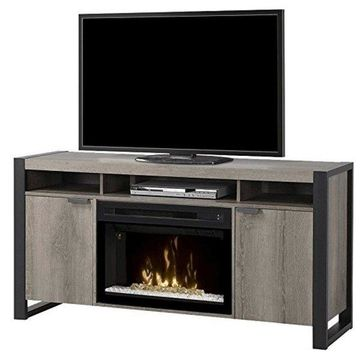 Dimplex Pierre Electric Fireplace TV Stand with Acrylic in Steeltown