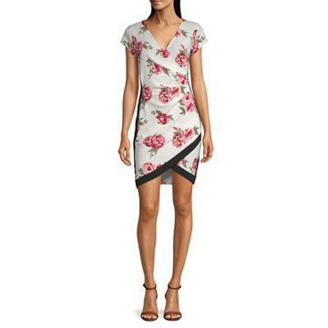 Almost Famous-Juniors Short Sleeve Floral Wrap Dress