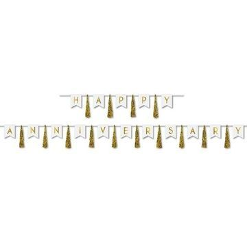 Beistle 53500-GD Happy Anniversary Tassel Streamer, Gold - 13 in. x 6 ft. & 13 in. x 14 ft. - Pack of 12