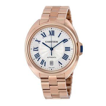 Cartier Men's WGCL0002 'Cle Silvered Flinque' 18 Kt Pink Gold Automatic Gold 18 Kt Pink Gold Watch (Cartier Men's WGCL0002 18 Kt Pink Gold)